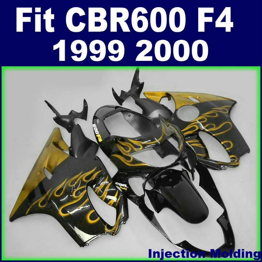 7Gifts + 100٪ حقن صب لهوندا CBR600 F4 نفطة 1999 2000 لهب أصفر في أسود 99 00 CBR 600 F4 نفطة مجموعات CJKI