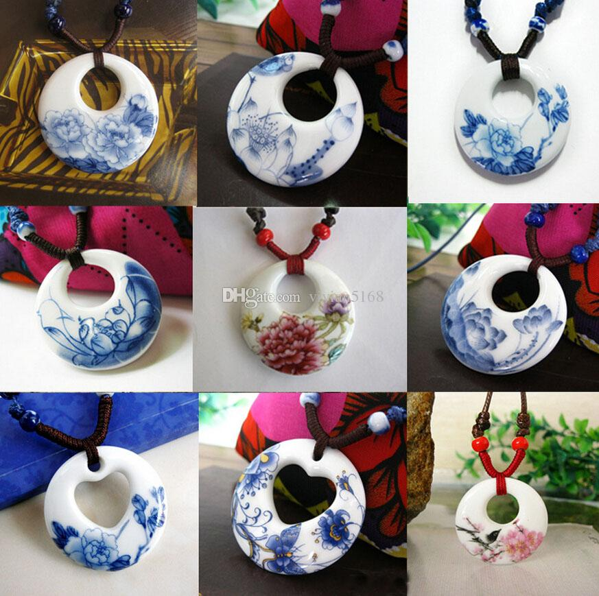Ceramic Necklace Pendants New Fashion Vintage Handmade Ethnic Necklace Blue And White Jewelry Accessories Wholesale Gifts For Lovers