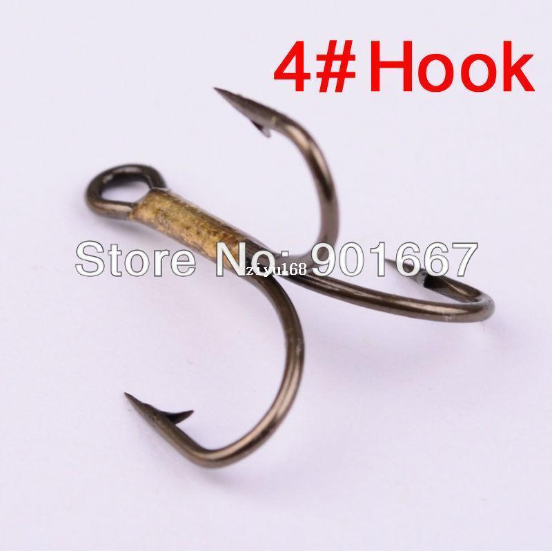 500 pc / Lot aparejos de pesca 2014 nuevo señuelo de pesca 4 # gancho de pesca ganchos triples de acero de alto carbono color marrón pesca envío gratis