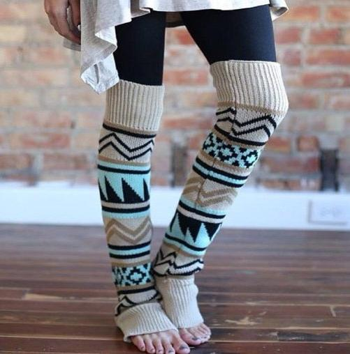 Neue Böhmische Art Weihnachten Crochet Knit Stulpen Boot Manschetten Toppers Boot Socken 15 Paare / Los # 3915