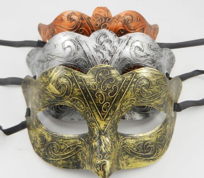 Homens retrô Gladiador Greco-Romano Masquerade Masquerade Máscaras Vintage Golden / Prata / Máscara de Cobre Prata Carnaval Máscara Mask Mask 10 Pçs / Lot