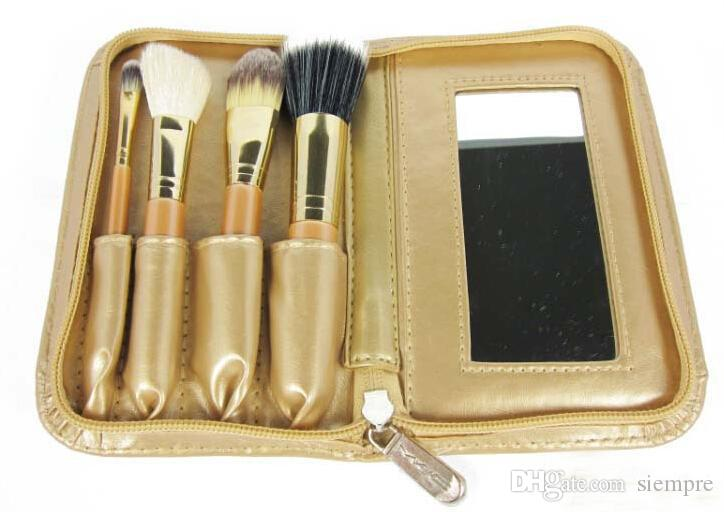 2015 new 4 gold makeup brush set make-up tools with mirror 70sets free ship DHL