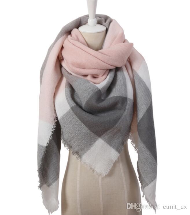 Triângulo de inverno Cachecol Para As Mulheres Marca Designer Xale Caxemira Xadrez Cachecóis Cobertor de Preços Por Atacado transporte da gota
