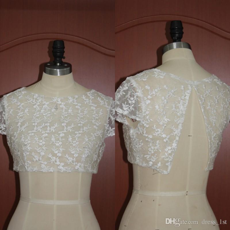 Free Shipping Cheap Lace Short Sleeve Bridal Jackets Bolero 2017 High Quality Wedding Shurg Custom Made China EN120113