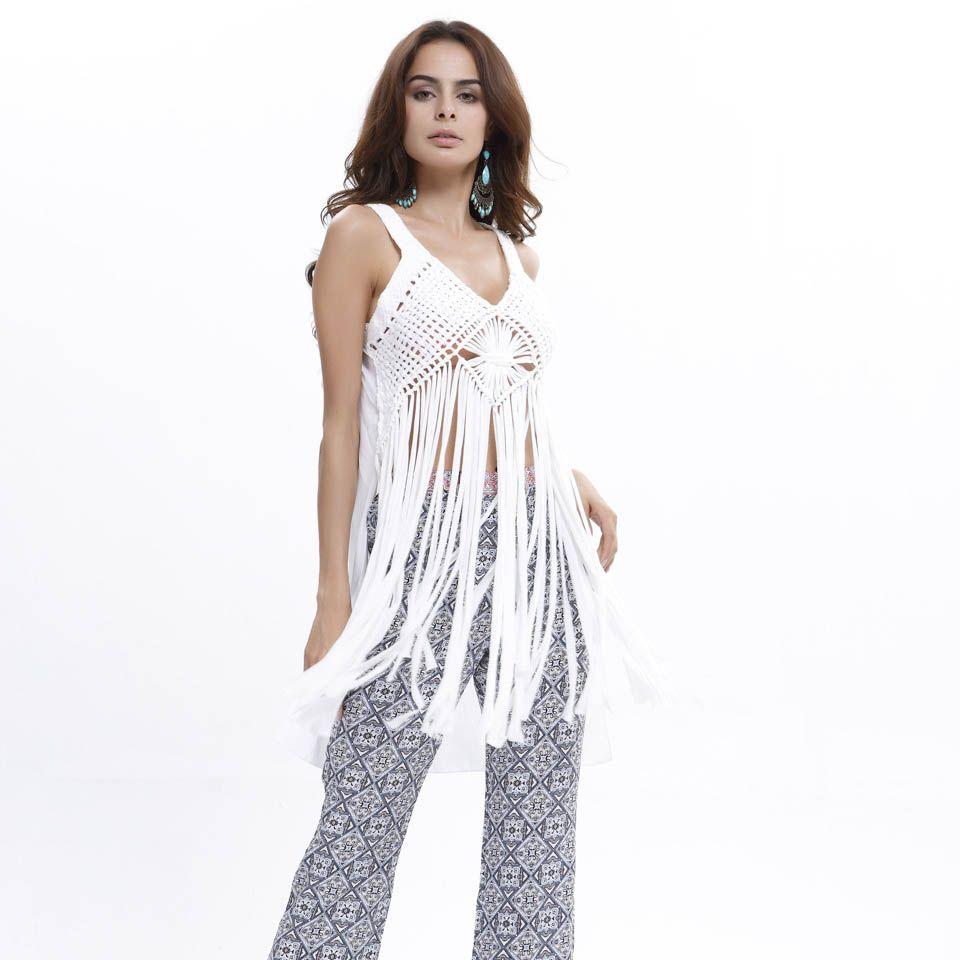New 2Summer Style Tassel T Shirts Chiffon Patchwork Beach Crochet Women Tops Low-Cut Bustier Thirts Tee Shirt Femme Blusa