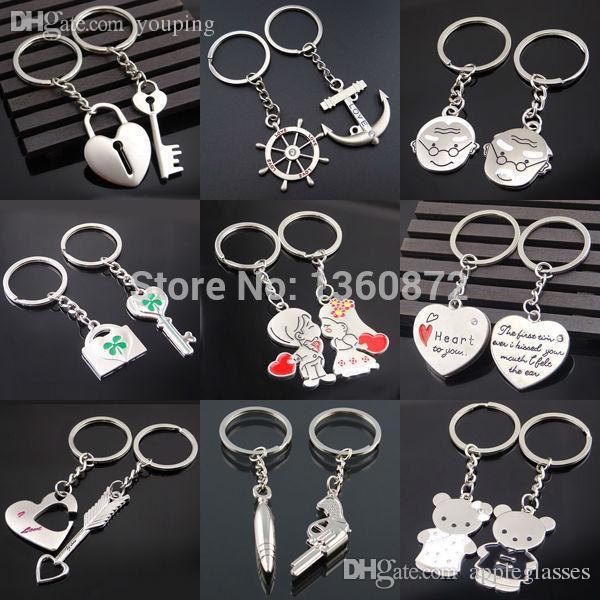 도매 - 한 쌍의 새로운 커플 당신을 사랑해 당신을 사랑합니다 마음 키 체인 반지 열쇠 고리 열쇠 고리 연인 로맨틱 크리 에이 티브 생일 선물 Chaveiros FC400