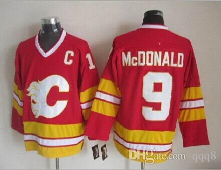 Qualidade máxima ! Camisas de hóquei no gelo de homens Calgary chamas barato 9 LANNY McDONALD vermelho branco Vintage retrô CCM costurado Jerseys ordem de mistura!