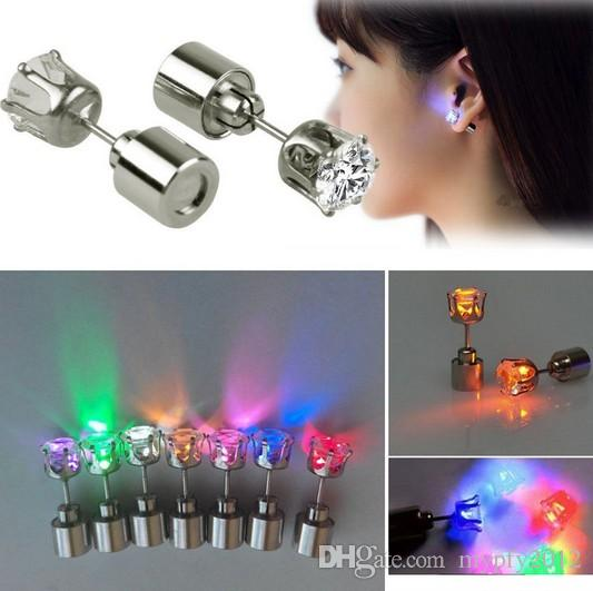 Hot Cheap Cool Light Up LED Light Ear Studs Shinning Earrings For Bar Unisex Fashion Jewelry Gift for women ladies girl Gifts