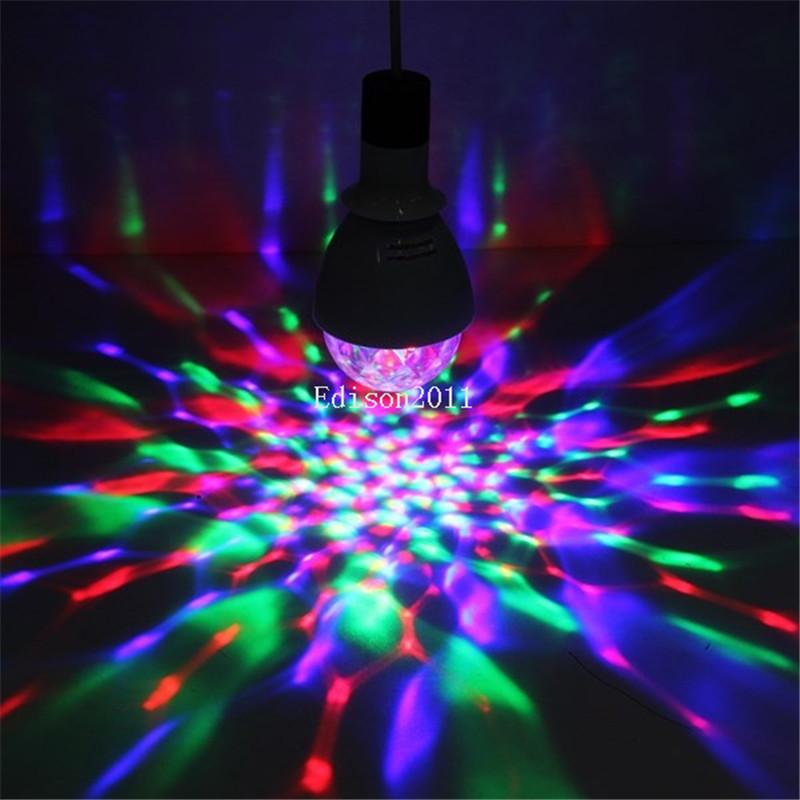 50PCS 3W E27 B22 RGB Lighting Full Color LED Crystal Stage Light Auto Rotating Stage Effect DJ Lamp Mini Stage Light Bulb