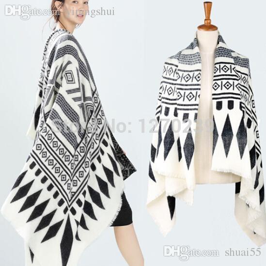 Оптовая продажа-WJ55 Новый 2015 черно-белый геометрический принт негабаритных имитация кашемира шарф шаль пончо одеяло пальто Бесплатная доставка