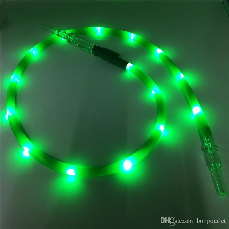 Green Color LED Torcia in silicone Fumo del silicone Narghilè Shisha Accessorio per tubi per fumare con il boccaglio acrilico