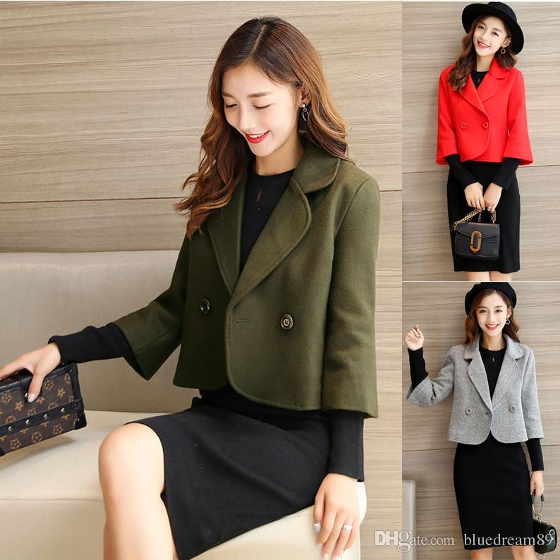 Autumn Korean women wool coats manteau slim double-breasted short woman jacket casacos seven sleeves small cute designer coat