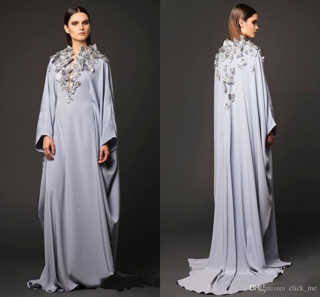 Arabic Dresses Party Evening Gowns V Neck Butterfly Appliques Long Sleeve Prom Dresses Muslin Dubai Abaya Mother Of Bride Celebrity Gowns