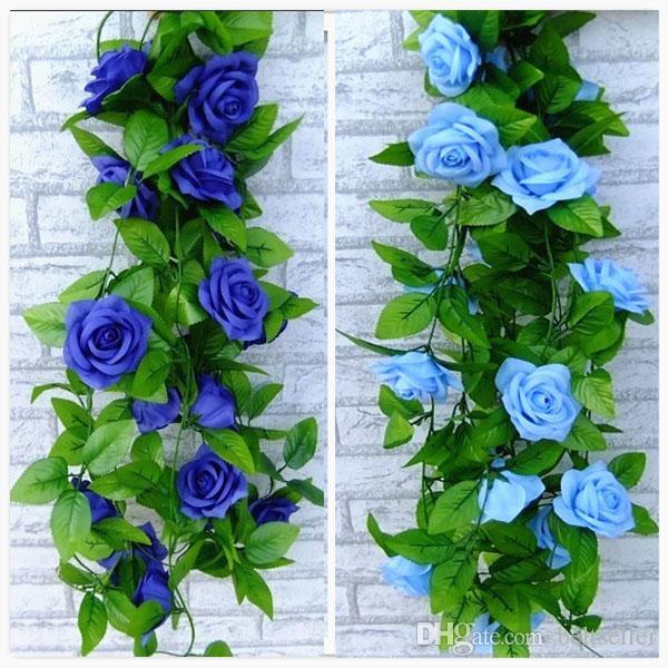 2016 جديد الأزرق والأبيض روز الاصطناعي زهرة الحرير الورقة الخضراء الكرمة جارلاند للمنزل ستريت عرس حزب زينة 2.4M طويلة