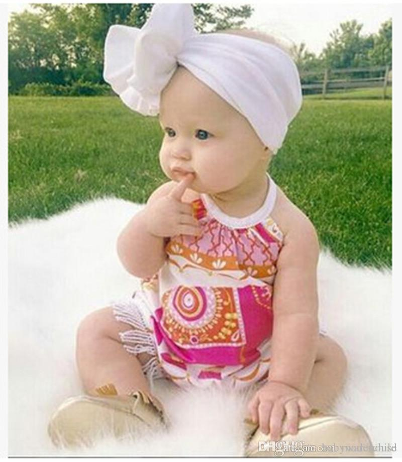 Newborn Baby Girls Clothes Newest Summer Sleeveless Rompers Elephant Print Tassel Outfits Infant Bebes Halter Sunsuit For Toddler 0-24M