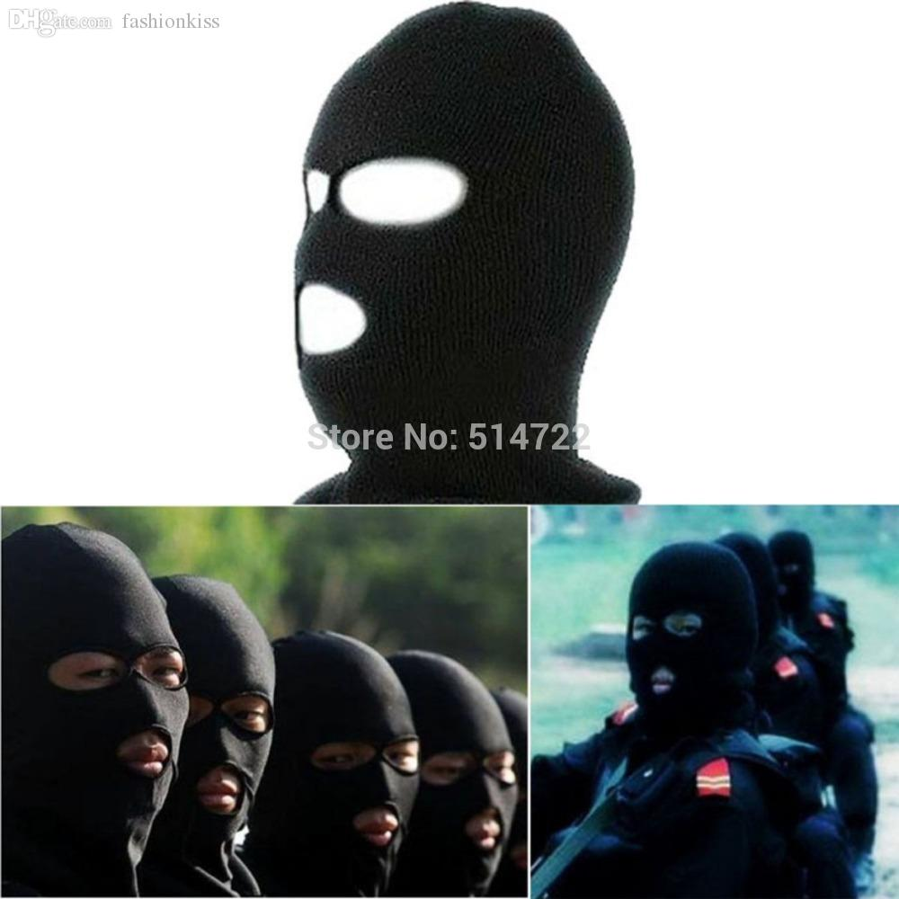 Wholesale-2015 New Full Face Cover Ski Mask Three 3 Hole Balaclava Knit Hat Winter Stretch Snow mask Beanie Hat Cap Free Shipping