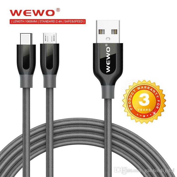 Wewo Cep Telefonu Kabloları Örgülü Mikro USB Toptan 1 M 2.4A Siyah Kırmızı Güvenli Şarj Kablosu