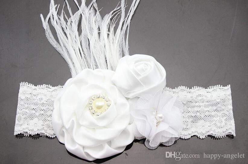10pc Neue Perle Diamant-Rosen-Blume mit Feder-Spitze-Stirnband-Baby-Haar-Zusätzen Blumen-Haarband freien Verschiffen Foto-Stütze YM6125