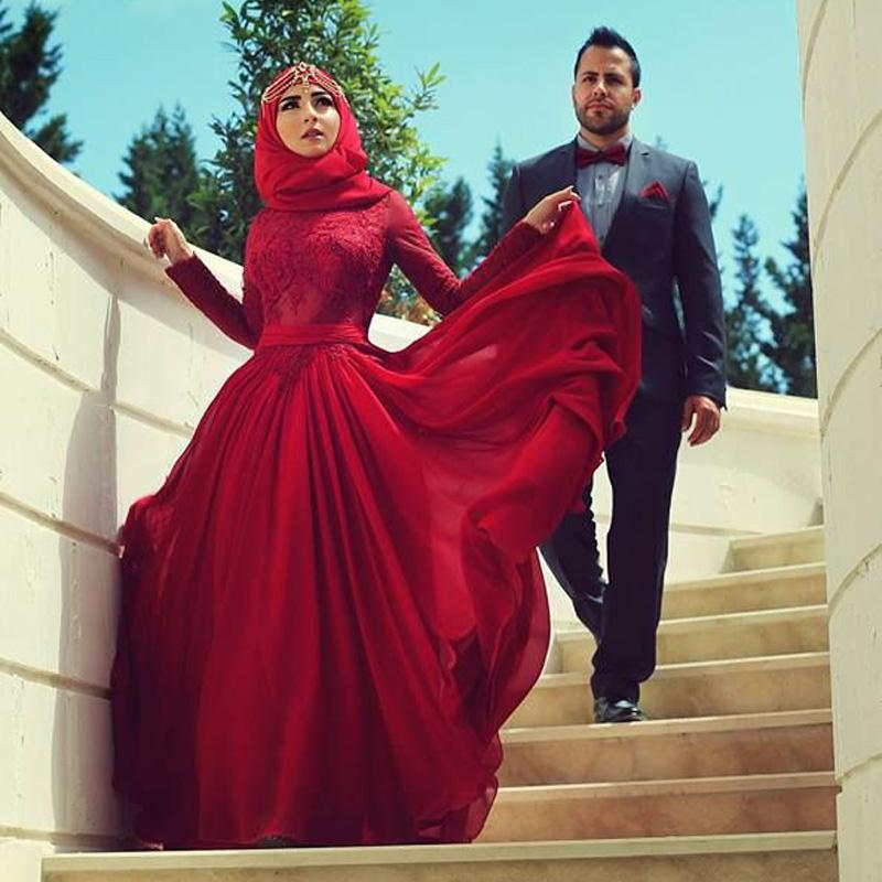 Dark Red Lace Appliques Muslim Wedding Dresses With Hijab 2015 Long Sleeves Sash Wedding Gowns O-neck robe de marriage Free Shipping