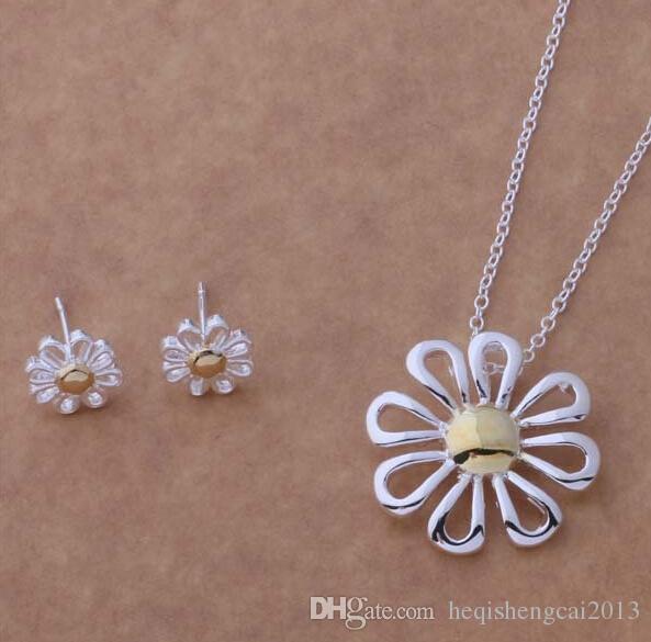 Moda charme pingente de ouro / prata crisântemo 925 colar de prata brincos conjuntos de jóias 10 set / lote