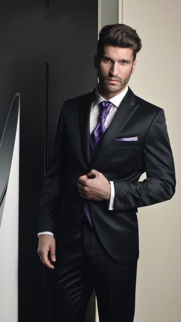 ممتاز نمط زر واحد أسود العريس البدلات الرسمية الذروة التلبيب رفقاء العريس رجل فساتين الزفاف حفلة موسيقية الدعاوى (سترة + بنطلون + سترة + ربطة عنق) H371