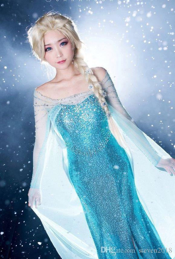 Women/'s Frozen Elsa And Anna Princess Dress Up Costume Cosplay Halloween Outfit