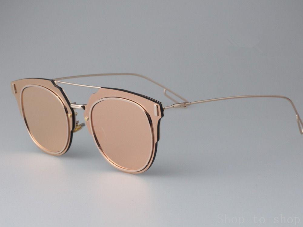 Les femmes nouveaux rivets top plat métal super qualité alliage d'argent rose soleil miroir bleu or lunettes oculos punk vintage
