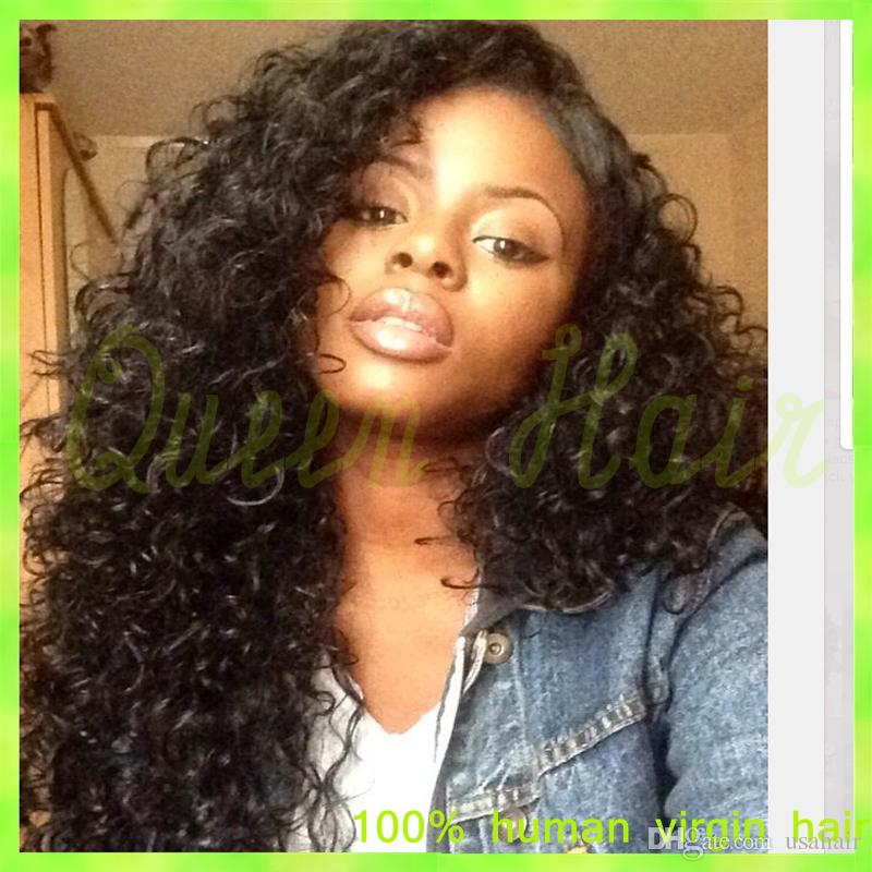 Instock 150% density Curly Glueless full lace wig virgin hair silk top & lace front wig Human hair Brazilian wigs free shipping