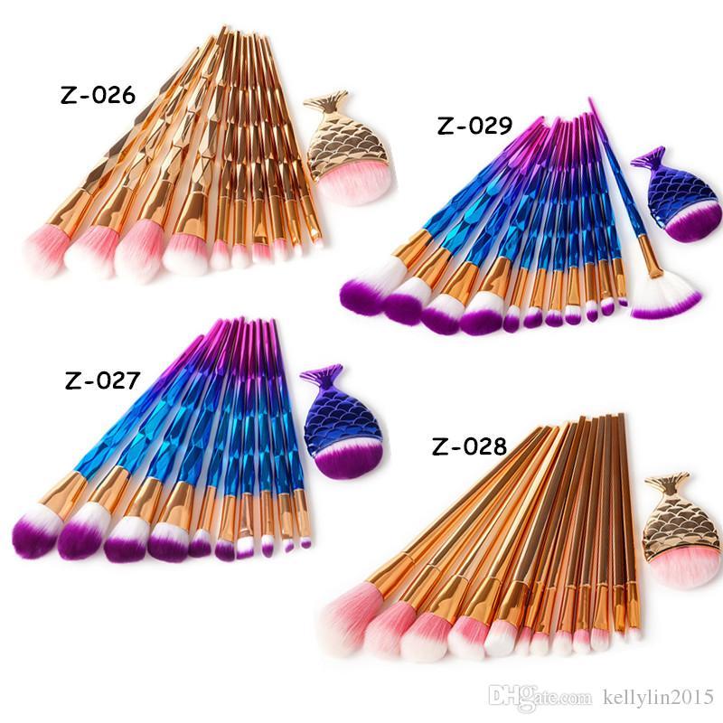 3D Mermaid Makeup Brushes Sets 11 13pcs Diamond Professional Cosmetic Blush Foundation Brush Big Fish Tail Colorful Make Up Brushes Kits