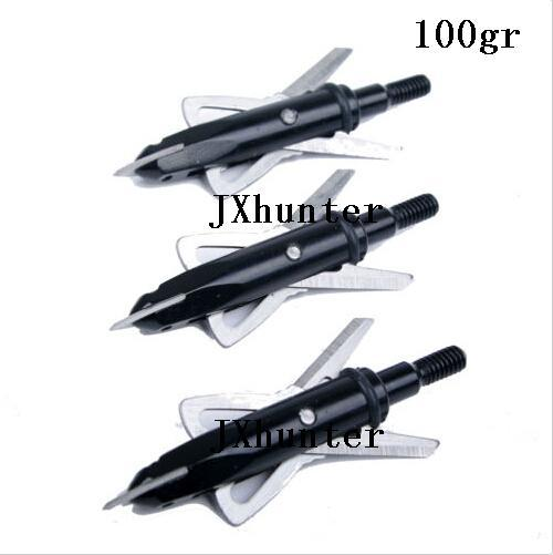 "6pieces/lot Free shipping hunting compound bow arrow heads arrow points target points 100 grain 2"" cutting 2 blades black color"