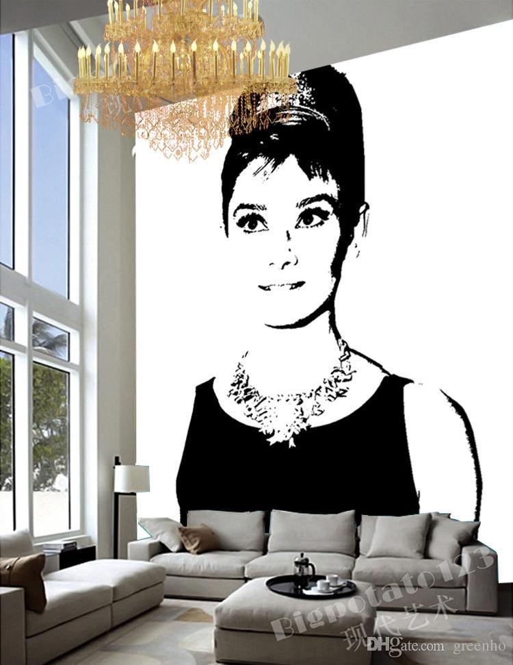 Black And White Wall Mural Pop Art Audrey Hepburn Photo Wallpaper ...