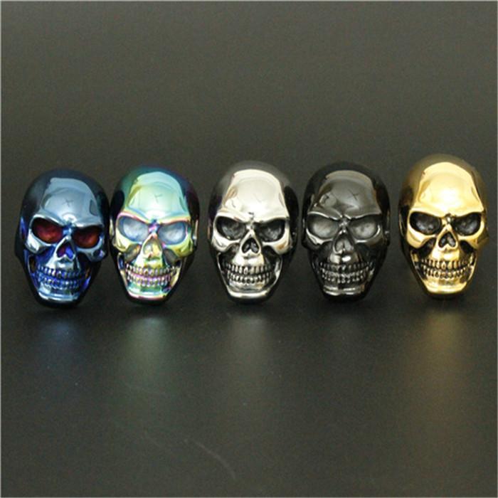 1pc tamaño 8-15 Venta al por mayor 5 colores Big Skull Ring 316L Acero inoxidable Diseño fresco Skull Ring