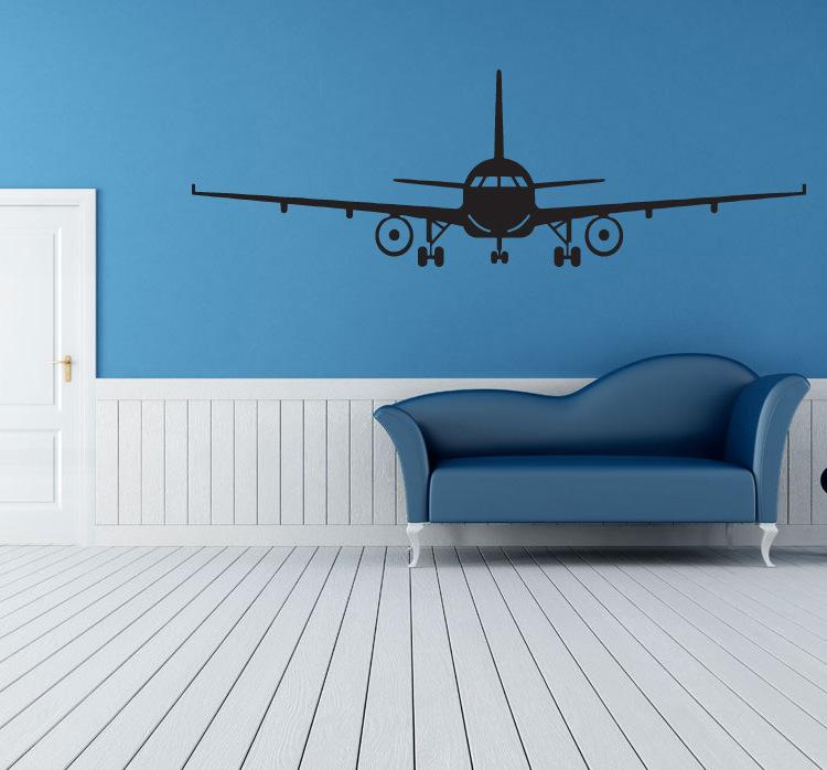 Black Airplane Wall Art Mural Decor Sticker Boys Kids Room Wallpaper Decal Poster Transfer Wall Graphic Wall Appique Big Stickers For Walls Big Wall