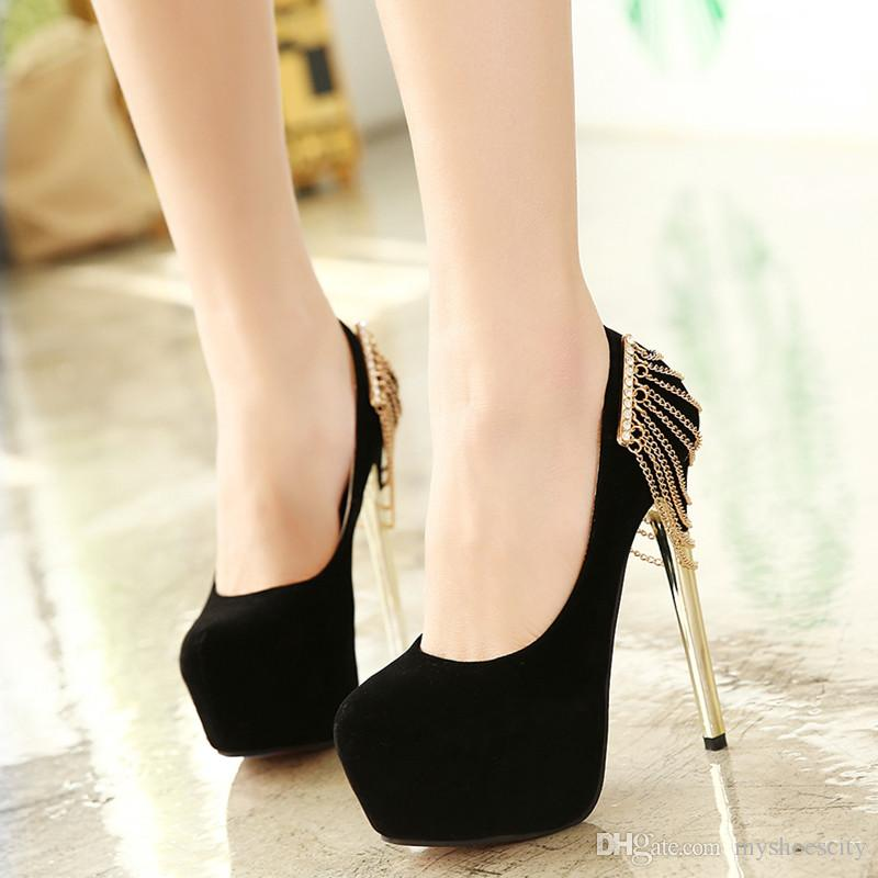 Black Gold Chain Rhinestone Shoes Women