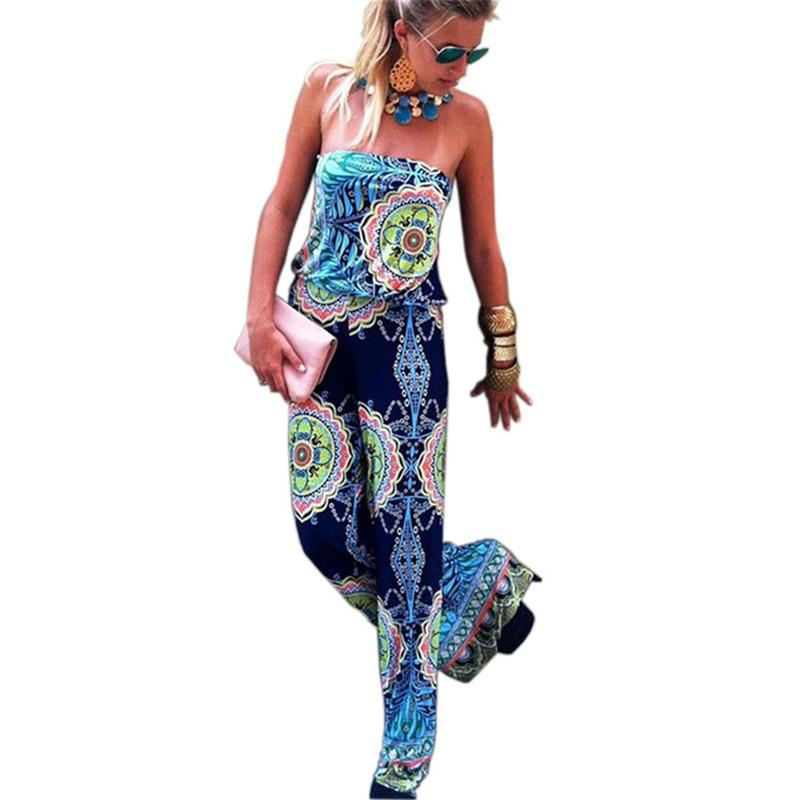 Summer Plus Size Elegant Women Jumpsuit Floral Printed Full Length Wide Leg Playsuit Irregular Sexy Black Strapless Rompers Overalls S-XL