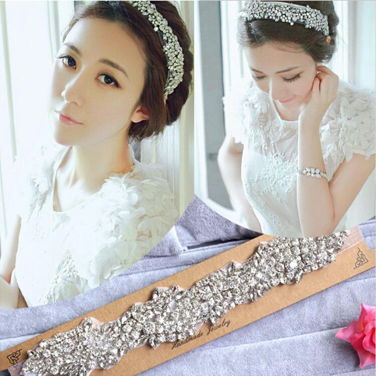 Retail Extravagant Wedding Dresses Bridal Tiaras Hair Accessories With Elastic Strap Rhinestone Hair Headpiece Jewellery New Bridal Hair Pictures