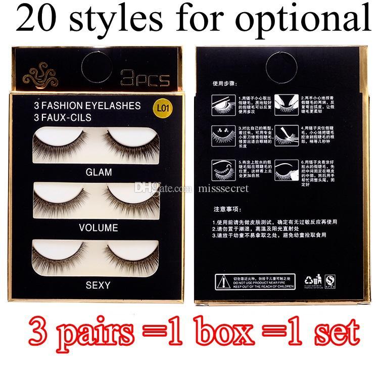 20 Styles False Eye Lashes 3D Nature Eyelashes Cross Thick False Eyelashes Extension 3 pairs/box Eye Makeup Handmade Fake Eyelashes DHL Free