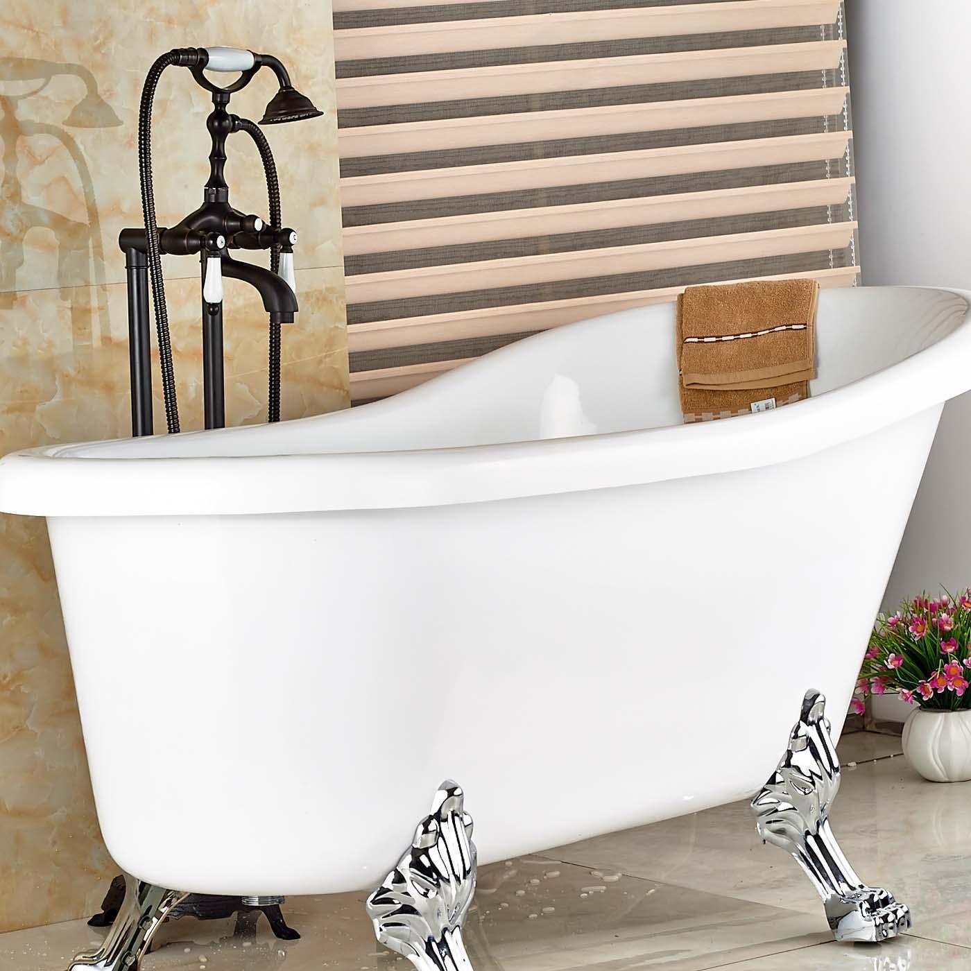 Großhandel Großhandel Und Einzelhandel Öl Eingerieben Bronze Massivem  Messing Boden Montiert Badezimmer Badewanne Wasserhahn Keramik Stil  Freistehende