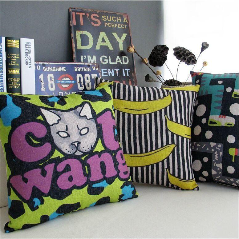 Abstract Stripe Iti Pop Banana Pillow Linen Cushio...