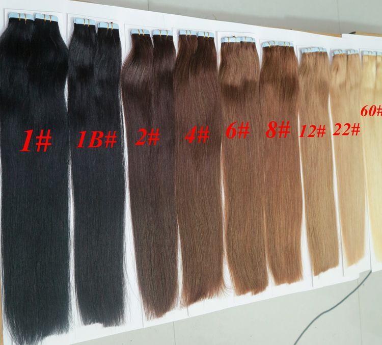İnsan Saç uzantılarında 50g 20pcs / Paketi Tutkal Cilt Atkı PU Bant 18 20 22 24inch Brezilyalı Hint Saç Uzatma