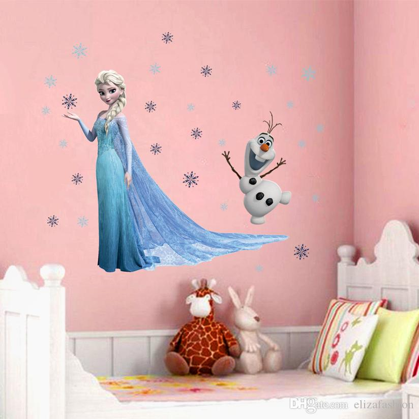 Elsa Olaf Snowflakes Wall Decal Elsa Snowflakes Olaf Wall Sticker Decals  For Kids Children Nursery In