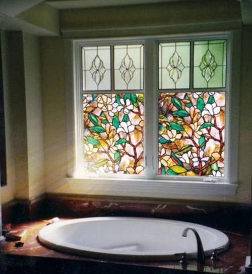 Bathroom Window Film   3d Colorful Flowers Stained Glass Film Static Cling Window Film For Bathroom Frosted Privacy Window Decoration Decal Film Truck Window Graphics Truck