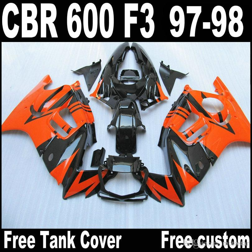Полная посадка для HONDA F3 обтекатели CBR600 1997 1998 CBR 600 97 98 оранжевый черный обтекатель обвес QY69