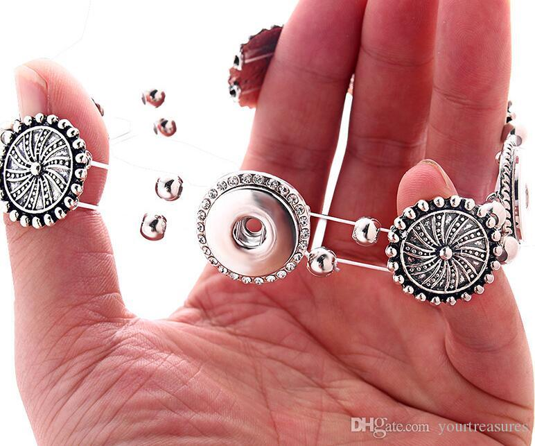 6Pcs Beauty Simple 5 buttons charm snap Jewelry Bangle bracelet fit 18MM snap buttons jewelry