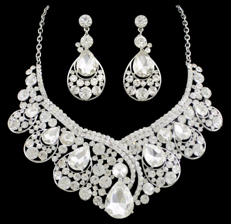 New Stone Bride Wedding Jewelry sets Earrings Necklaces Waterdrop Crystal Women Dresses Accessories Set(Earring+Sautoir) for Party 1pcs