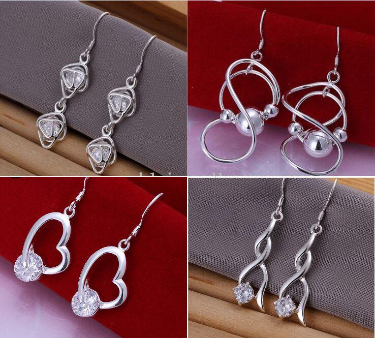 Gratis verzending Gemengde bestelling 20 stijlen Sterling Silver Multi Patronen Drop Oorbellen Kerstmis om zijn vriendin / vrouw cadeau 1765 te sturen