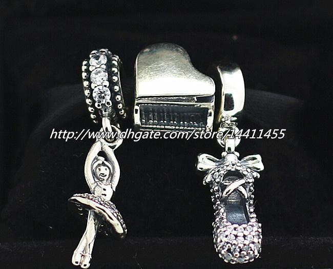 925 Ayar Gümüş Takılar ve Murano Cam Boncuk Seti Avrupa Pandora Takı Charm Bilezikler-Bale Uyar