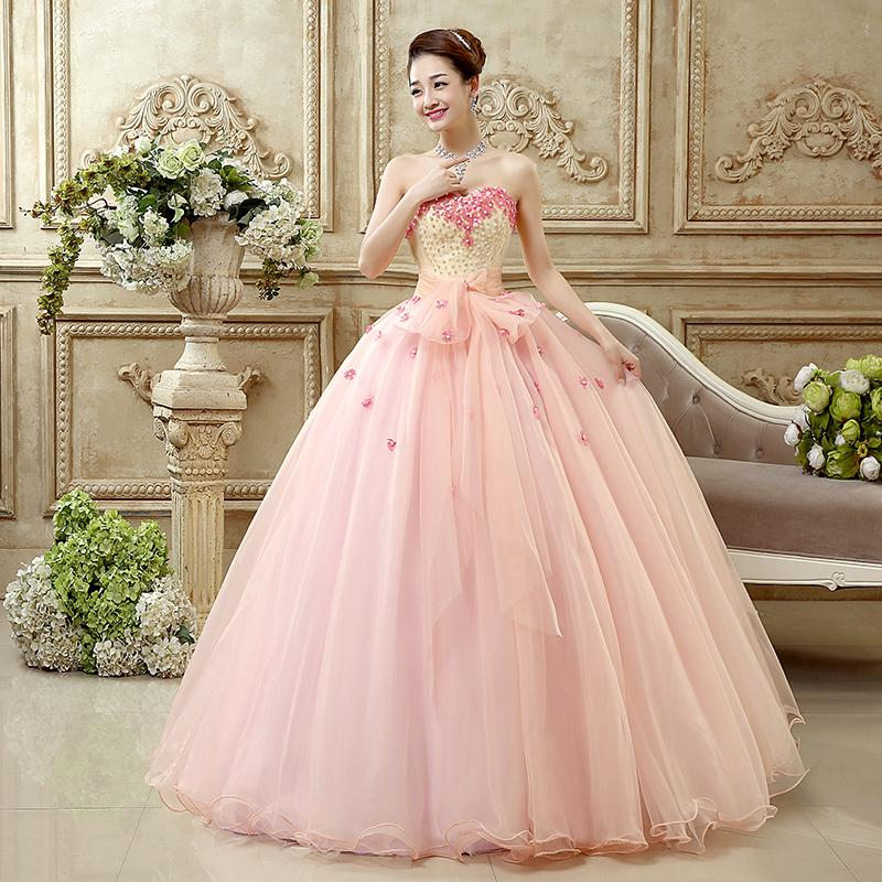 Nude Pink Prom Evening Dress With Pearls 2015 Floor Length Ball
