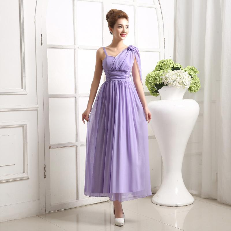 The New Release Straps Bridesmaid Dress Short Paragraph Dress Bride ...