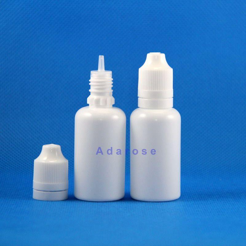 100 조각 30 ml LDPE 화이트 컬러 플라스틱 병 이중 증거 탬퍼 안전 어린이 안전 모자 및 젖꼭지를위한 젖꼭지
